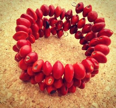 Natural Amazon Seeds Coil Bracelet Red Handmade in Peru Eco Jewellery Adjustable