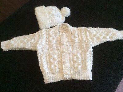 Hand Knitted Baby Boys Aran Cardigan And Hat 3/6 Months