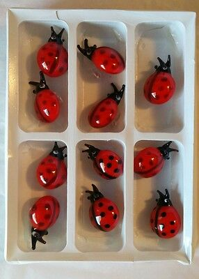 Lot of 11 Glass Ladybugs - Ladybug has glass clip Great craft projects