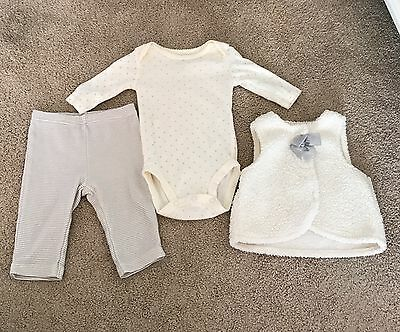 Carter's Baby Girl Outfit Vest, One Piece Bodysuit and Pants; Size 3M