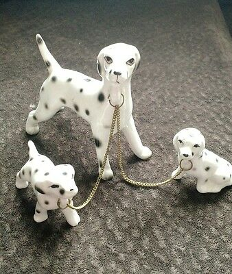 Vintage Dalmatian Dog Figurine with 2 Puppies on a Chain Ceramic Porcelain 4""