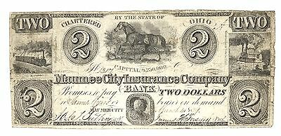 1839 Maumee City Insurance Co Bank.CHARTERED OHIO TWO DOLLARS Obsolete Note 1317
