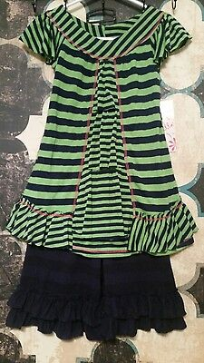 Pink Vanilla Girl's Lime/Navy Short Sleeve Dress/Capri Set Size 2T NWT