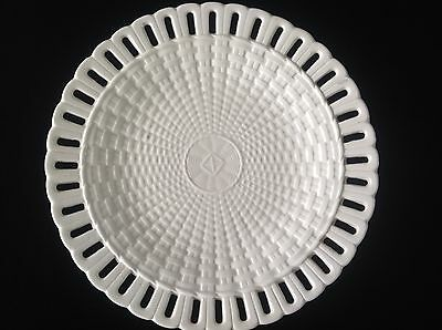 Antique Creamware Reticulated Basketweave Plate