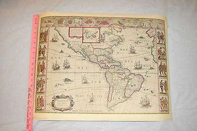 Vintage 17th Cen. Map of North and South America by Willem Bleau
