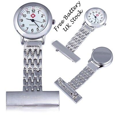 Stainless Steel Nurse Watch Quartz Fob Metal Nurse Watch Nurse Time Piece Silver