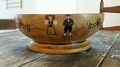 Vintage~ German~Hand Painted~Signed &  Marked~Neugebauer~Wooden Bowl