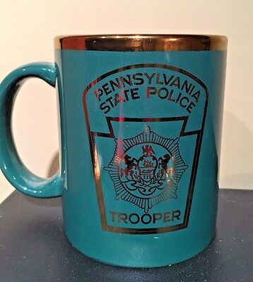 Pennsylvania State Police Trooper Coffee Mug Green and Gold Law Enforcement