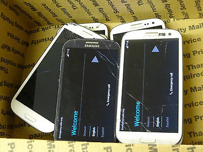 Lot of 8 Samsung Galaxy S3 SGH-i747 AT&T Smartphones 7 Power On AS-IS GSM