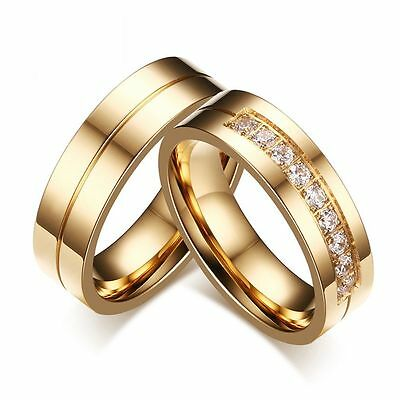 CZ Couples Cubic Zirconia Stainless Steel Wedding Band Ring 18K Gold Plated