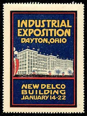 """USA Poster Stamp - Industrial Exposition, Dayton Ohio (1916) """"New"""" Delco Bldg."""