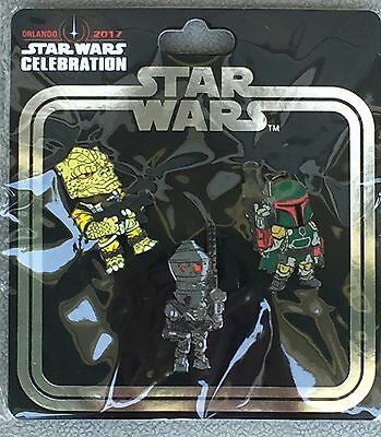 Star Wars Celebration 2017 Disney Trading Pin Bounty Hunter 3-Pack Boba Fett MOC