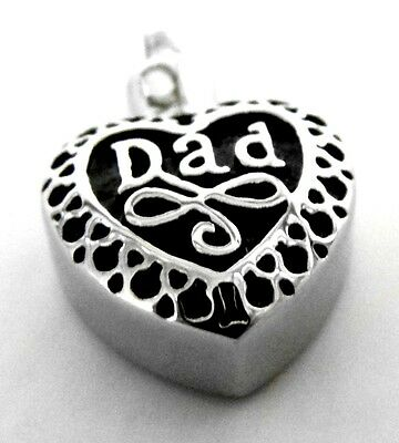 "Cremation jewellery silver DAD pendant and 20"" silver chain necklace for ashes"