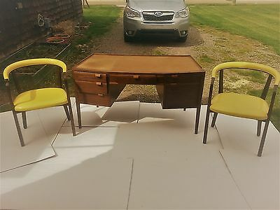 Rare Vintage Edward Wormley Dunbar (2) Yellow Leather Arm chairs / Writting Desk