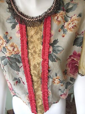 VTG Blouse Chintz Fabric Antique Metallic Lace Trim Green Pink Rose Flower