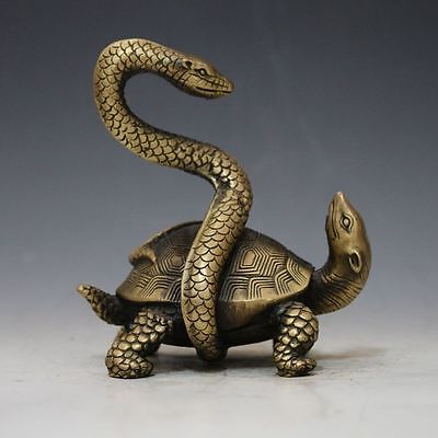 Chinese Brass Hand-carved Snake & Turtle Statue