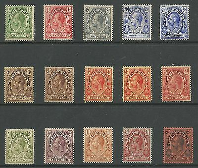 Turks & Caicos Is Sg129-39 The 1913-21 Gv Set Inc Some Shades Mint Cat £70+