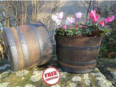 Whiskey Barrel Planter Pots Plastic Large Garden Patio Outdoor Flower Plant Herb