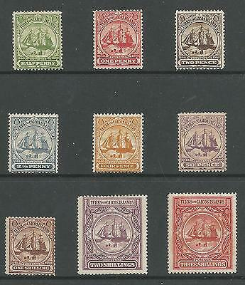 Turks & Caicos Is Sg101-9 The 1900-4 Set Of 9 Mounted Mint Cat £130