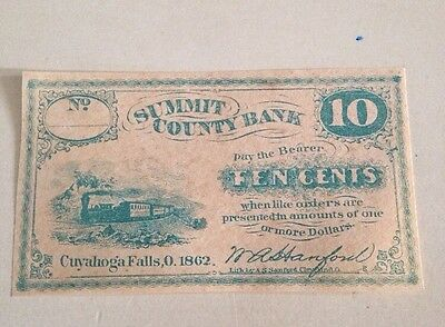 Obsolete Currency 1862 10 Ten Cents Summit County Bank Cuyahoga Falls Civil War
