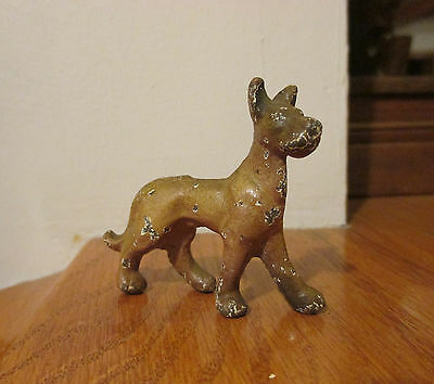 Vtg Doll House Painted Cast Iron Metal Miniature Dog GREAT DANE