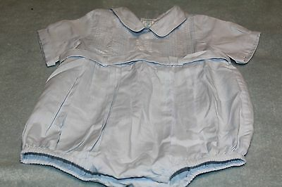 Feltman Brothers Baby Blue  hand Embroidered Train Romper Infant Size 6 months