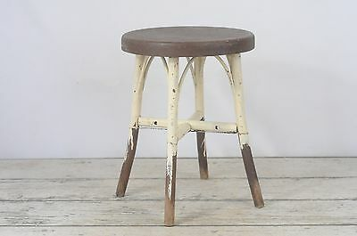 Antique Wood Stool Cream and Brown Short Wood Stool