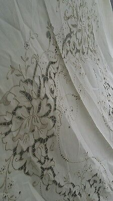 "Vintage linen Madeira embroidery cut out  linen tablecloth  100""×69"" NOS"