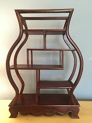 A Quality Chinese Solid Rosewood  Wall Curio Display Cabinet  (2 Available)