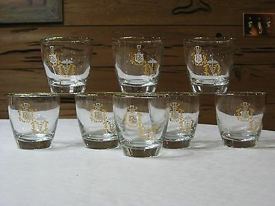 Vintage Libbey Set of  8  RX/Physician 8 Oz. Tumblers with Gold Trim