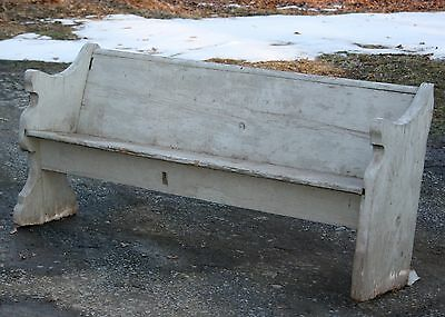 Primitive Shabby Antique Wooden Gray Paint Church Pew Bench Great Garden Decor
