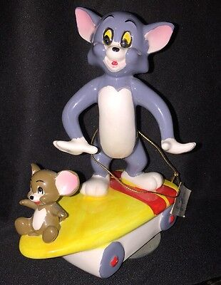 "Tom and Jerry Skateboard Revolving Music Box MGM Gorham 1981 ""King of the Road"""