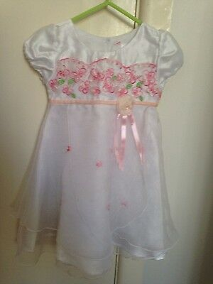 New baby girl flower girl white dress party wedding formal 0 6-12 months