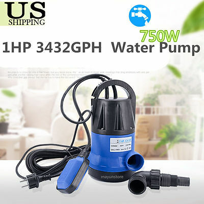1HP 3432GPH Submersible Dirty Clean Water Pump Swimming Pool Flooding Pond BU