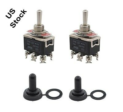 2 x Black Waterproof boot cap DPDT momentary Toggle switch ON/OFF/ON Amp