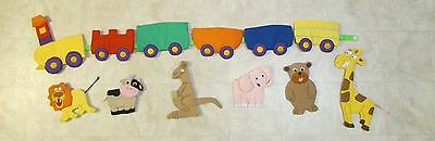 Baby Nursery Train and Zoo Animals Soft Wall Hanging - Handmade - Adorable!