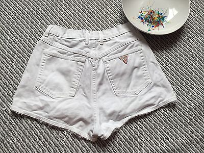 Guess Jeans High Waist Short Shorts Distressed WHITE