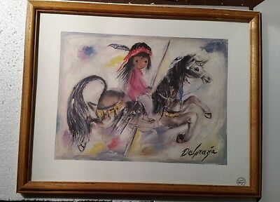 "TED DEGRAZIA Glass Framed  Print 20X15.5"" Tucson Arizona ""A Merry Little Indian"""