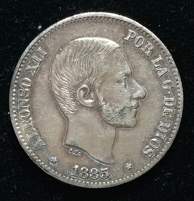 1885 Alfonso 50 centavos Spain-Philippines Silver Coin - lot 9