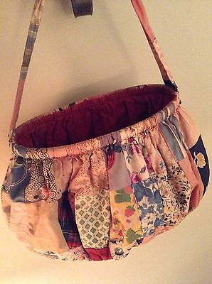 Vintage Antique Feed grain Fabric Sewing Bag