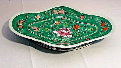 Antique Chinese Porcelain Painted Scalop Shape Flowers Fruit Plate,Bowl