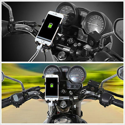 Charger For Cell Phone GPS Rotating Motorcycle Handlebar MTB Mount Holder USB