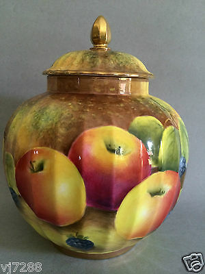 Royal Worcester Hand Painted Fruit Lidded Jar/Pot Signed Leaman