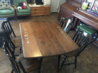 Antique Wood Hitchcock Style Dining Table with 4 chairs set black gold Stenciled