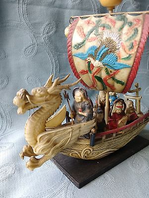 Vintage Japanese Dragon Boat with 7 Gods of Good Fortune - Celluloid