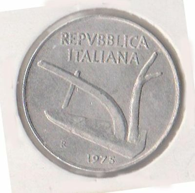 (H46-50) 1975 Italy 10L coin (G)