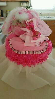 One Tier Girl Diaper Cake With Bunny