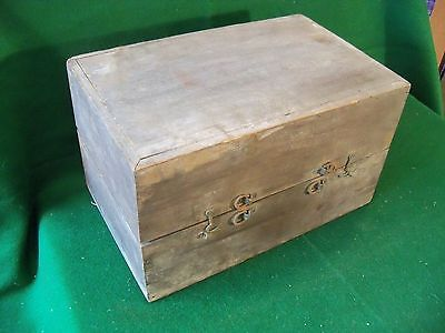 Beautiful PRIMITIVE Antique Solid Walnut Hinged Valuables, Tool, Storage Box ��