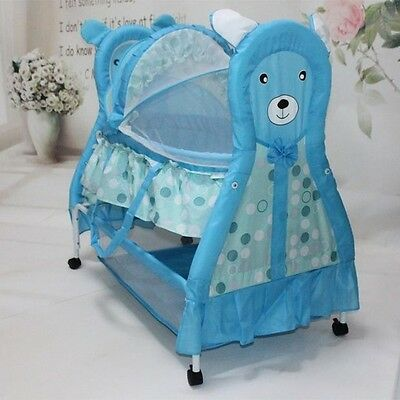 Brand New Innovative 3IN1 Teddy Bear Style Cool Baby Bassinet-Blue