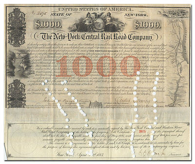 New York Central Rail Road Company Bond Certificate Signed by Erastus Corning